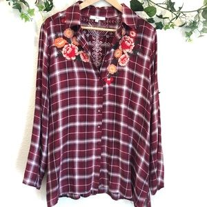 Embroidered button up Shirt Size L